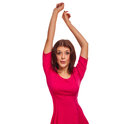Cheerful woman raised hands up happy look Stock Image