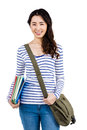 Cheerful woman with shoulder bag and files Royalty Free Stock Photo