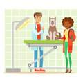 Cheerful woman and veterinary doctor examining dog in vet clinic. Colorful cartoon character Illustration