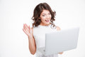 Cheerful woman video chatting on laptop computer Royalty Free Stock Photo