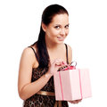 Cheerful women with a present Royalty Free Stock Photo