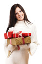 Cheerful women with a present Royalty Free Stock Images