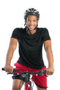Cheerful young african american male riding bike isolated on white background Stock Image