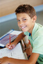 Cheerful young boy doing his homework Royalty Free Stock Photography
