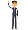 Cheerful young businessman waving her hand flat cartoon illustration.