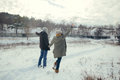 Cheerful young couple walking in a winter day loving on natural background Stock Photos