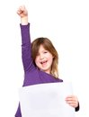 Cheerful young girl holding blank sign with one arm raised portrait of a Stock Photos