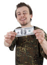 Cheerful young man holding one hundred dollars Stock Photos