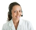 Cheerfull call center operator Royalty Free Stock Photo