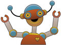 Cheering bright colorful shiny robot smiling Royalty Free Stock Images