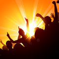 Cheering crowd at concert a in the sun Royalty Free Stock Photography