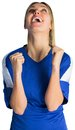 Cheering football fan in blue jersey on white background Royalty Free Stock Image