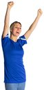 Cheering football fan in blue jersey on white background Royalty Free Stock Photos