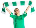 Cheering football fan waving scarf on white background Stock Images