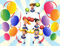 A cheering squad in the middle of the balloons illustration on white background Royalty Free Stock Photos