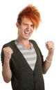 Cheering Teen with Mohawk Royalty Free Stock Photos