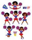 Cheerleadears Team Of Girls .Cheerleading Uniform red blue vector illustration Royalty Free Stock Photo