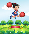 A cheerleader above a trampoline illustration of Stock Images