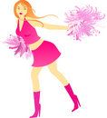 Cheerleader dance with pompons Royalty Free Stock Image