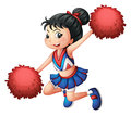 A cheerleader dancing illustration of on white background Stock Photography