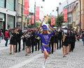 Cheerleader followed by a music band nicolae balcescu pedestrian street sibiu romania june sibiu international theatre festival Royalty Free Stock Photo