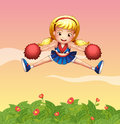 A cheerleader in the garden illustration of Royalty Free Stock Photos