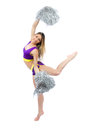 Cheerleader girl dancer with silver  Pom Poms Stock Images