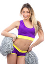 Cheerleader girl dancer with silver  Pom Poms Royalty Free Stock Photo