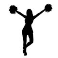 Cheerleader girl silhouette. Contour girl with hands up waving pompoms. Isolated on white background. Vector