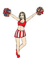 Cheerleader girl, vector hand drawing. Painted girl with hands up waving pompoms. Isolated on white background. Vector