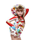Cheerleader girl with white and red dress Royalty Free Stock Photo