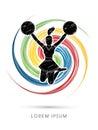 Cheerleader jumping graphic Royalty Free Stock Photo