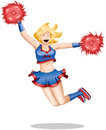 Cheerleader Jumps In The Air Royalty Free Stock Photo