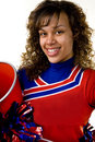 Cheerleader with pom poms Royalty Free Stock Photos