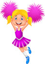 Cheerleader with Pom Poms Royalty Free Stock Photo
