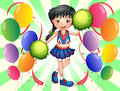 A cheerleader surrounded with balloons illustration of Royalty Free Stock Image