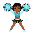 Cheerleader in turquoise uniform with Pom Poms.