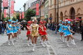 Cheerleaders with bastons nicolae balcescu pedestrian street sibiu romania june sibiu international theatre festival outdoor Stock Images