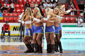 Cheerleaders in the dance during match between bc donetsk donetsk lokomotiv kuban start game of first round of Royalty Free Stock Photo