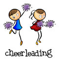 Cheerleaders dancing illustration of the on a white background Stock Photos