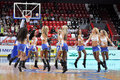 Cheerleaders dancing during the match between bc donetsk donetsk lokomotiv kuban start game of the first round of the playoffs vtb Stock Photography