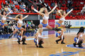 Cheerleaders doing splits in the air during match between bc donetsk donetsk lokomotiv kuban start game of first round of Royalty Free Stock Images