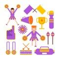 Cheerleaders girls team and sport club cheerleading garments vector flat icons Royalty Free Stock Photo