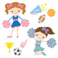 Cheerleaders illustration of and related sport items Stock Photo