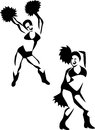 Cheerleaders stylized black and white illustration Stock Photo