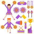Cheerleading elements and cheerleader girls accessories vector flat icons Royalty Free Stock Photo