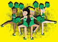 Cheerleading Squad in green Stock Photos