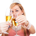Cheers detail of two happy woman celebrating with glass of champagne isolated on white background Royalty Free Stock Photos