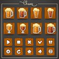 Cheers, draft beer glasses and mugs, objects and buttons for you Royalty Free Stock Photo