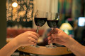 Cheers with glasses of red wine Royalty Free Stock Photo